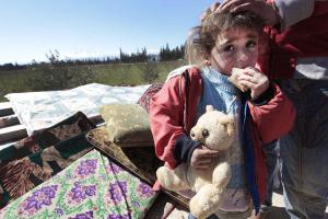 Syrian child refugee camp